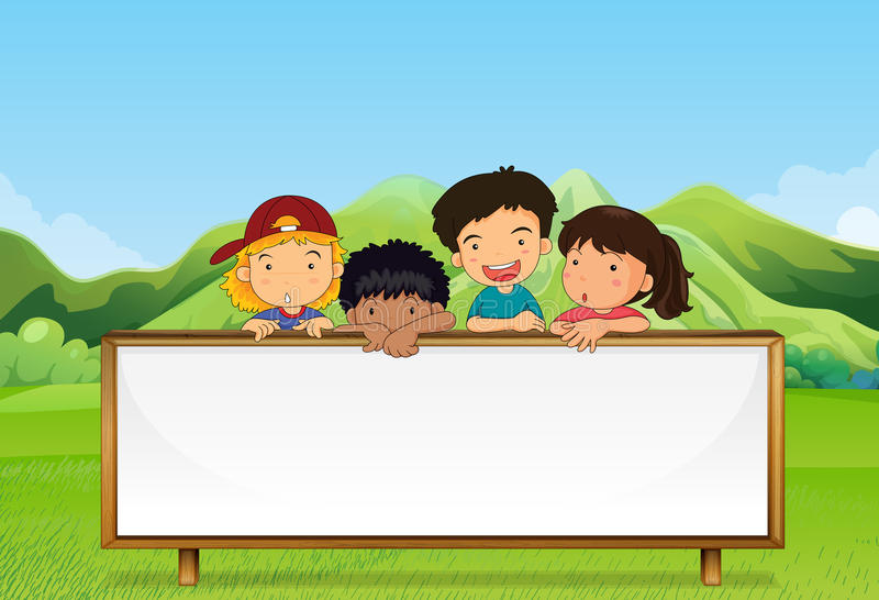 Kids near the mountain with an empty signboard. Illustration of the kids near the mountain with an empty signboard stock illustration