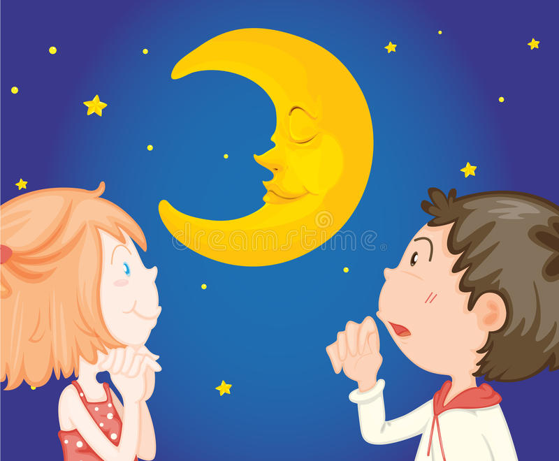 Download Kids at night with moon stock vector. Image of face, happy - 32733427
