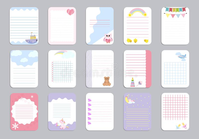 Kids notebook page template vector cards, notes, stickers, labels, tags paper sheet illustration. stock illustration