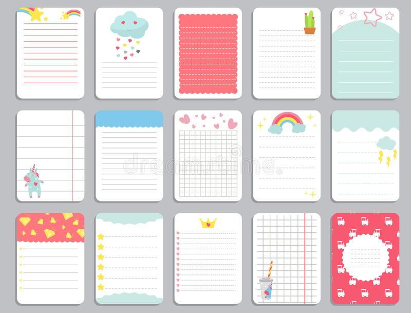 Kids notebook page template vector cards, notes, stickers, labels, tags paper sheet with unicorn illustrations. royalty free illustration