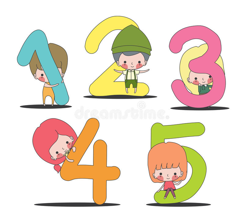 Kids and number set royalty free stock photos