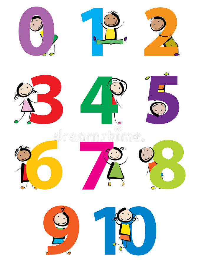 Kids with numbers. Funny kids with numbers isolated on white background stock illustration