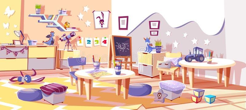 Kids nursery or kindergarten room vector interior. Kid nursery room or kindergarten interior vector illustration in cozy Scandinavian style. Tables with children vector illustration