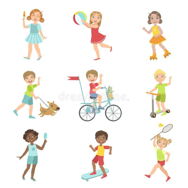 kids outdoor activities set stock vector illustration of character activity 73998151. Black Bedroom Furniture Sets. Home Design Ideas