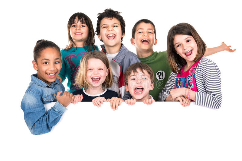 Kids over white board royalty free stock photos