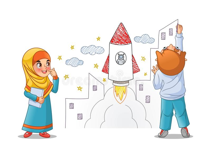 Kids Paint Draw Space Rocket On The Wall stock illustration