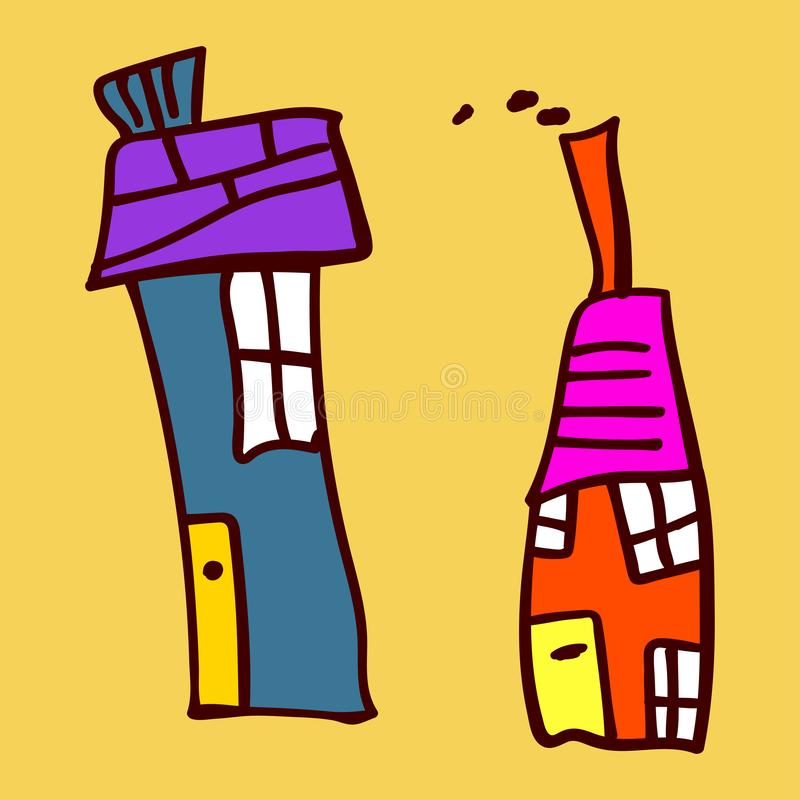 Kids painted houses in doodle style. Painted and isolated on a colored background. Vector illustration vector illustration