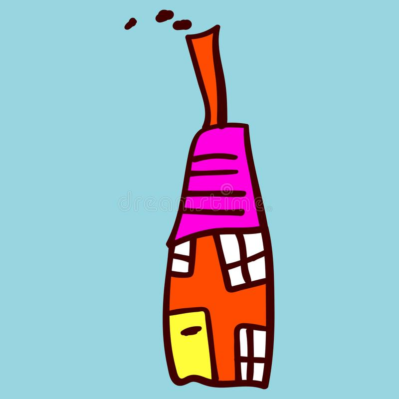 Kids painted houses in doodle style. Painted and isolated on a colored background. Vector illustration stock illustration