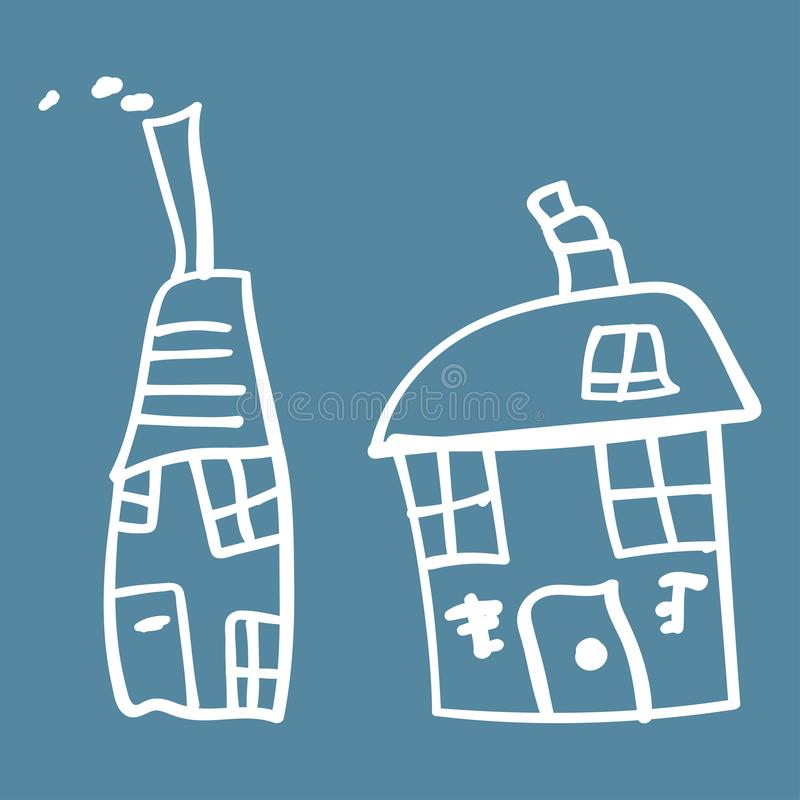 Kids painted houses in doodle style. Outlined and isolated on a colored background. Vector illustration royalty free illustration