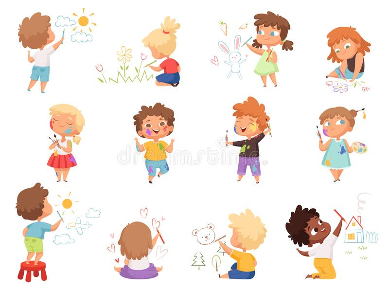 Kids painters. Paint splashes on kids clothes childrens with pallette and colored brushes hand holding vector characters vector illustration