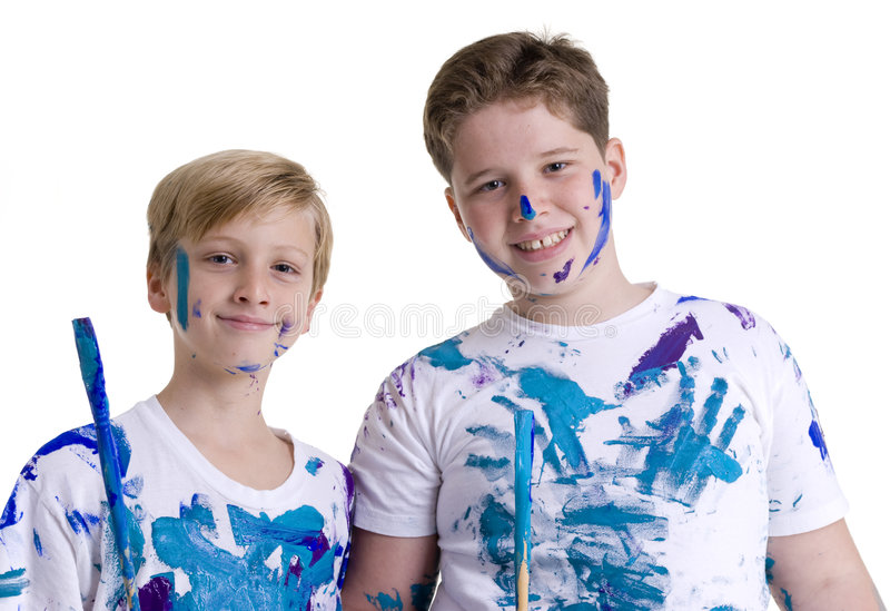 Download Kids painting stock image. Image of buddies, artist, family - 6367333