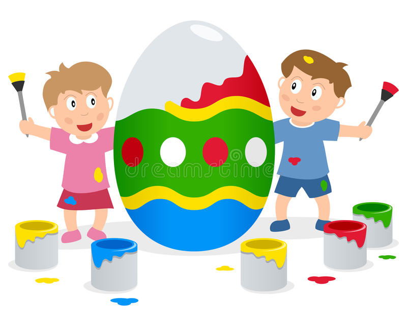 Kids Painting Big Easter Egg royalty free stock image