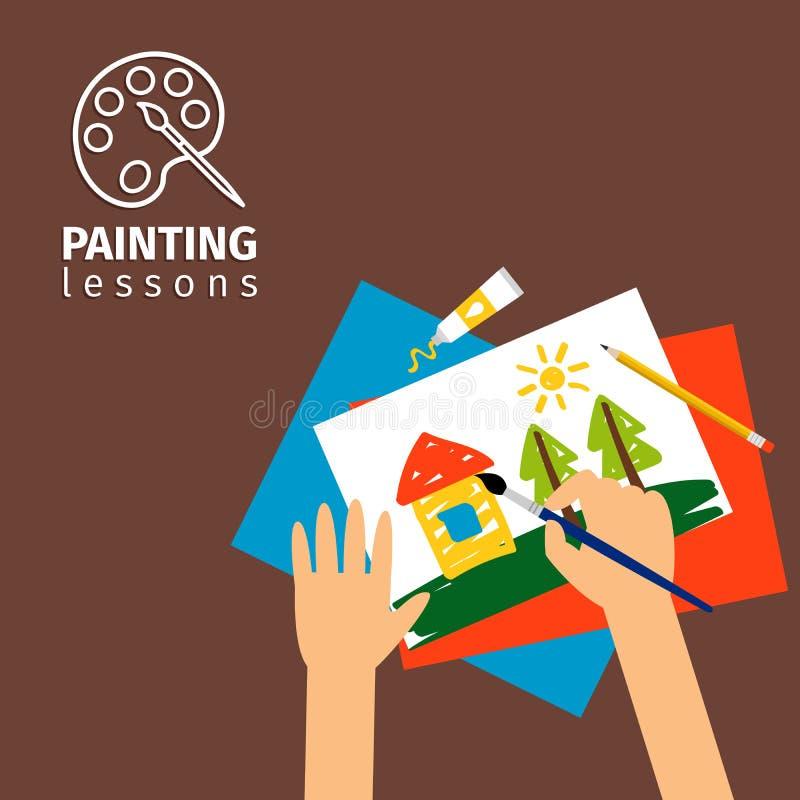 Kids painting lessons. Vector illustration. Kids hands with paintbrush vector illustration