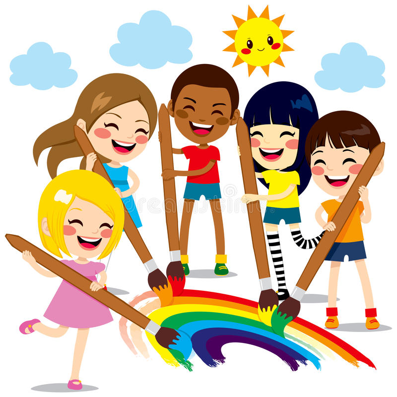Kids Painting Rainbow. Five cute little kids painting together a beautiful colorful rainbow with paint colors and brushes vector illustration