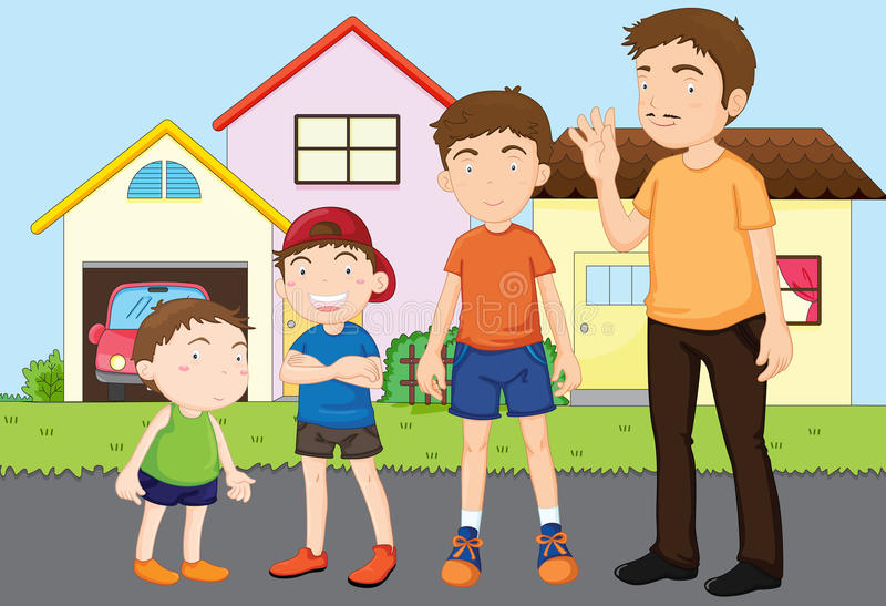Kids with papa vector illustration