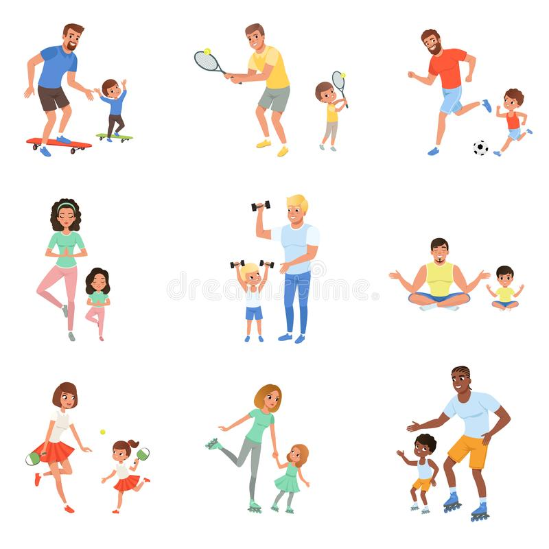 Kids with parents playing football, tennis, ping pong, riding on skateboards and rollers, working out with dumbbells and. Set of children with their parents stock illustration
