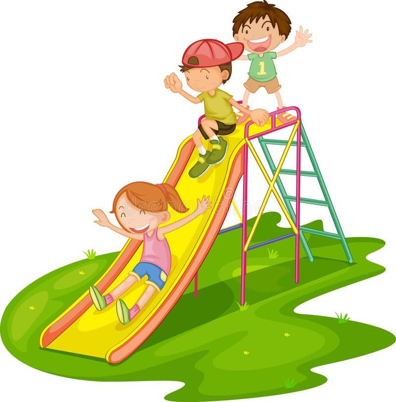 Kids at a park royalty free illustration