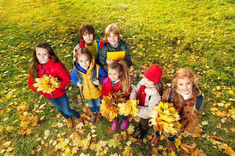Download Kids In The Park On Autumn Lawn Stock Image - Image: 34837587