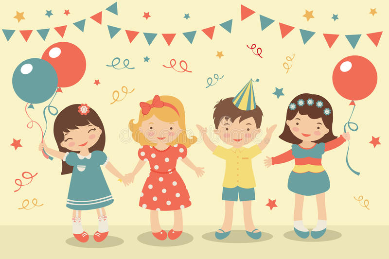 Download Kids party stock vector. Image of cute, carnival, happiness - 28063910