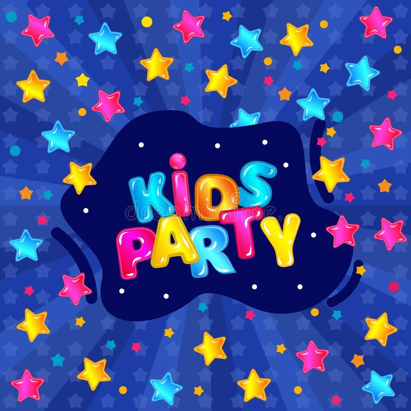 Kids party banner with fun blue starry background, colorful poster for child birthday or other event celebration. Sign template with childish typography font stock illustration