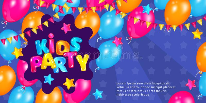 Kids party banner with fun colorful balloons and cartoon text. Blue invitation card with play time decorations. Children entertainment activity day poster royalty free illustration
