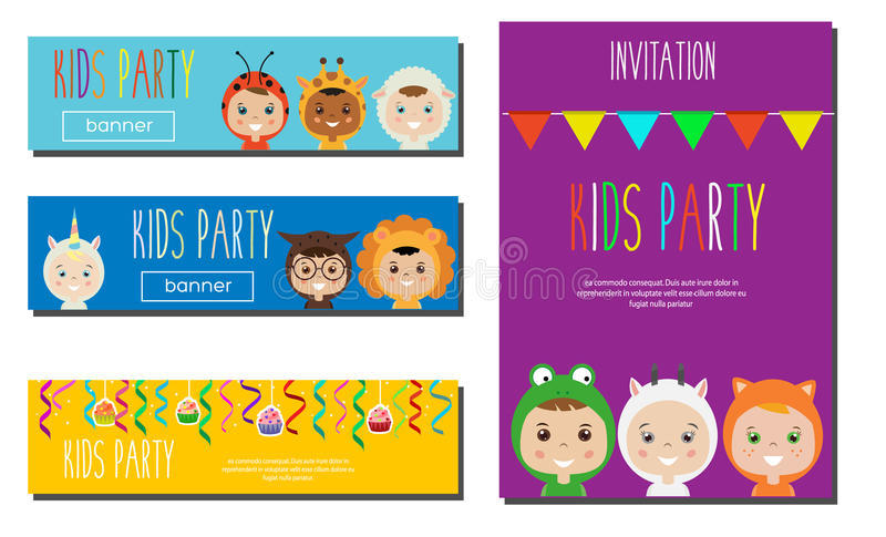 Kids Party Banners design template. Children in Animal Carnival Costumes. Party invitation mock up. Vector illustration.  royalty free illustration
