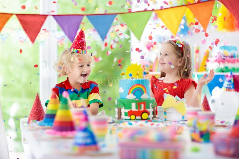 Kids party. Birthday cake with candles for child. stock image