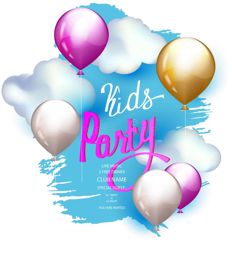 KIDS PARTY bright banner with air balloons, clouds and sky on the background. royalty free illustration