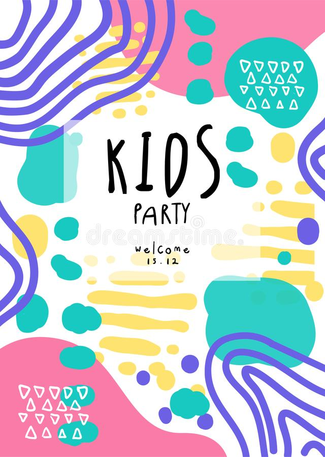 Free Kids Party, Colorful Template With Date Can Be Used For Placard, Invitation, Poster, Banner, Card, Flyer Vector Stock Photos - 119566773