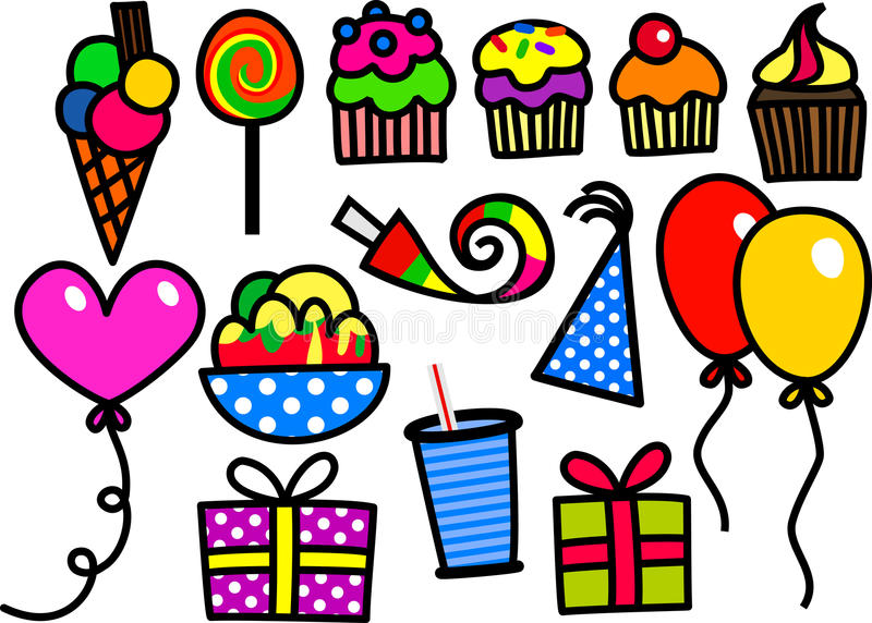 Kids Party Doodles royalty free illustration