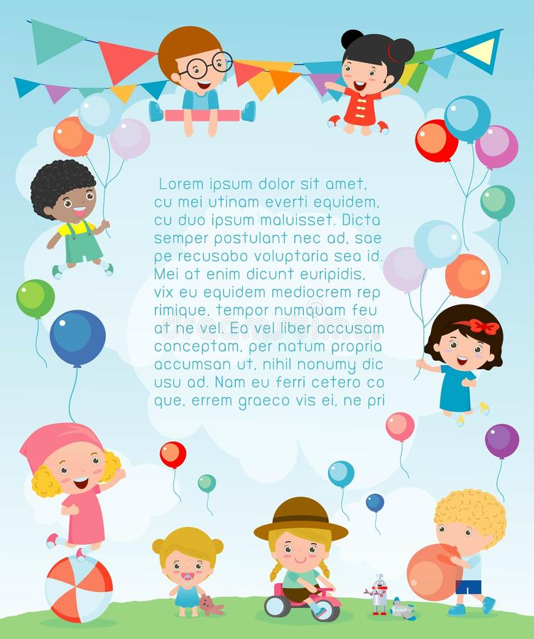 Kids Party, happy new year on playground, children happy party celebration Template for advertising brochure. Ready for your text. Vector illustration vector illustration