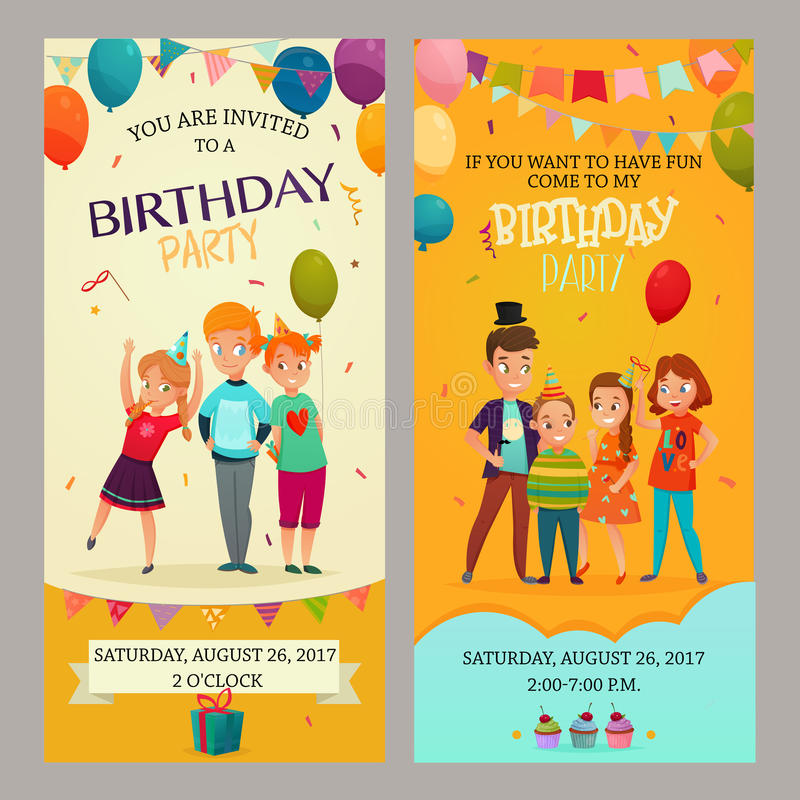 Kids Party Invitation Banners Set Stock Vector - Illustration of ...