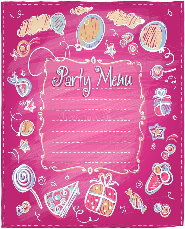 Kids party menu frame. royalty free illustration