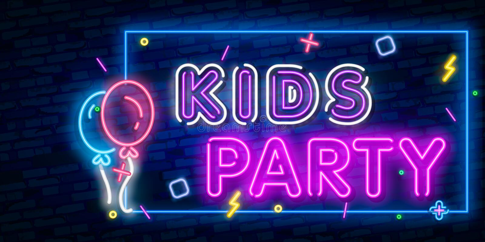 Kids party neon text. Celebration advertisement design. Night bright neon sign, colorful billboard, light banner. Vector. Kids party neon text. Celebration royalty free illustration
