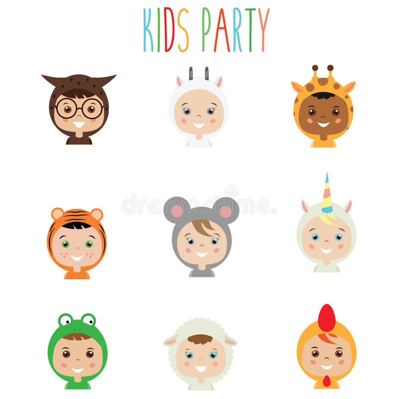 Kids Party Outfit. Children in Animal Carnival Costumes. Kids party outfit. Cute smiling happy children in animal carnival costumes, vector illustration. boys vector illustration