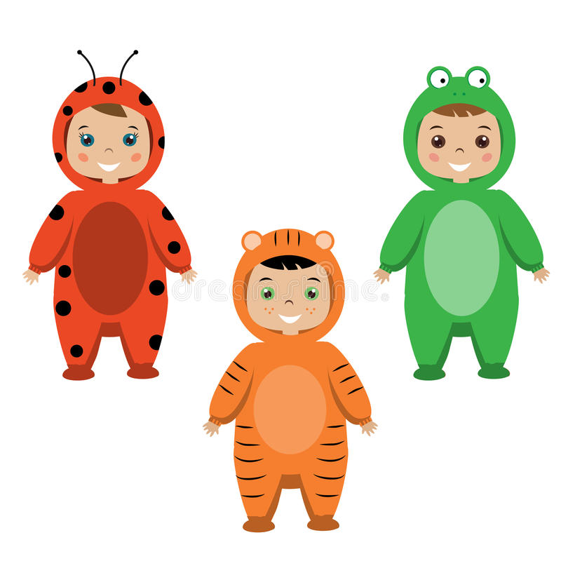 Kids Party Outfit. Children in Animal Carnival Costumes royalty free illustration