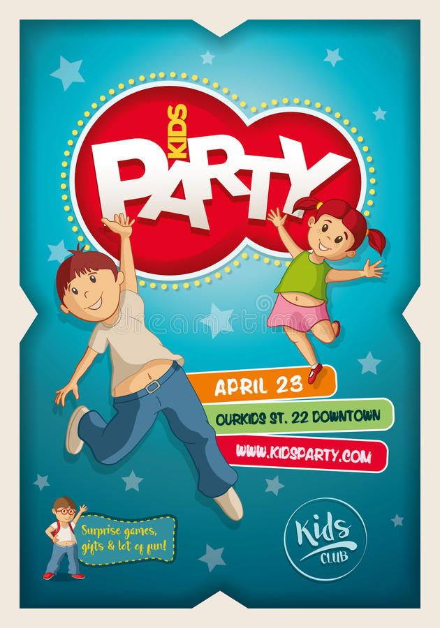 kids party poster design template stock vector illustration of
