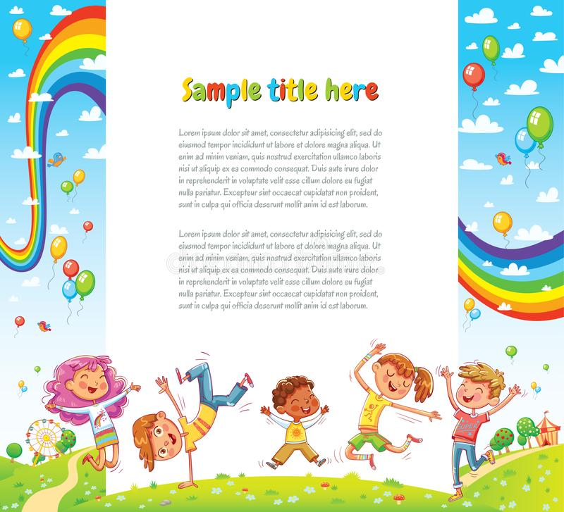 Kids party for web page design. Kids party card invitation. Happy children jumping together a sunny day. Vector illustration for banner, poster, website vector illustration