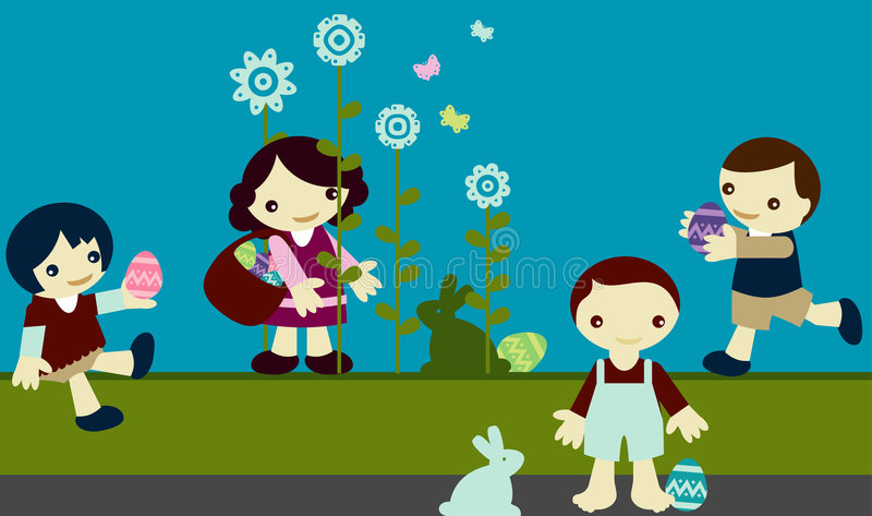 Download Kids pascua stock vector. Image of flower, celebration - 7589651