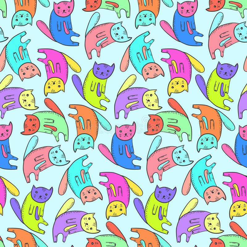 Kids pattern with cute colorful cats vector illustration