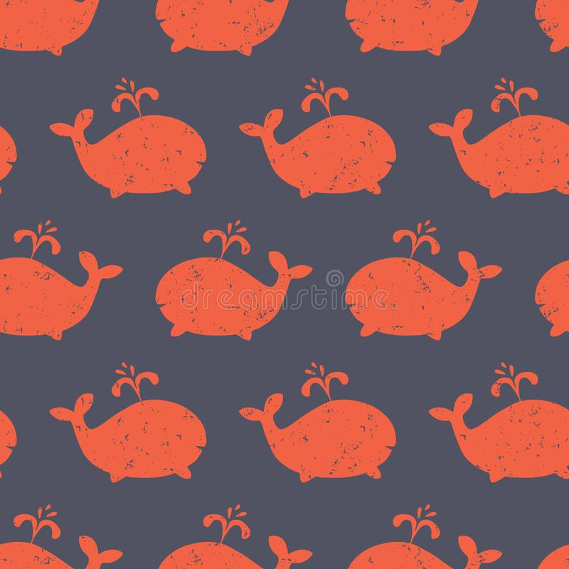 Kids pattern Whale shapes seamless vector. Cute background with distressed red whale silhouettes on blue. Baby shower design royalty free illustration