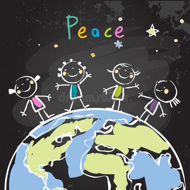 Kids peace vector illustration