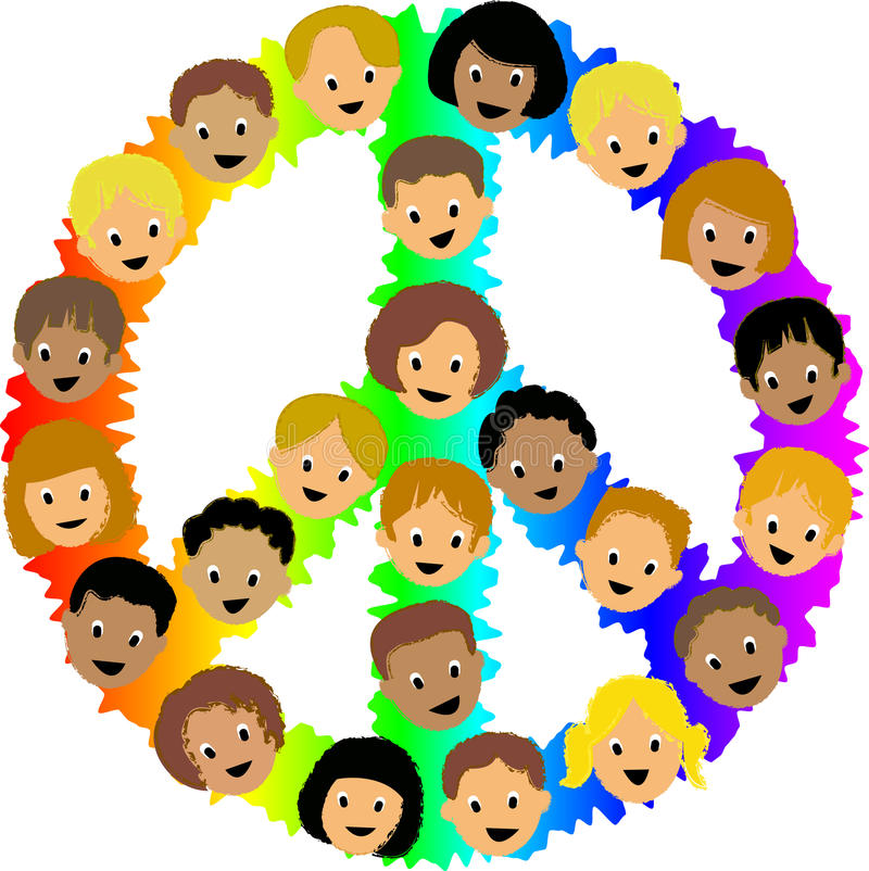 Kids Peace Sign/eps. Illustration of multi-cultural, diverse kids faces superimposed over a rainbow peace sign
