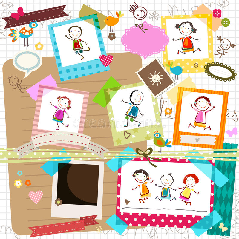 Kids and photo frames stock illustration