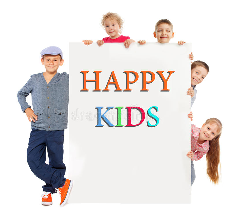 Download Kids with placard stock photo. Image of caucasian, empty - 26111318