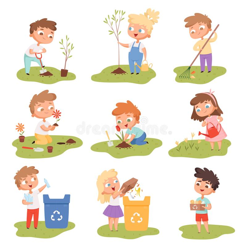 Kids planting. Happy children gardening digging picking plants eco weather protect tree vector set stock illustration