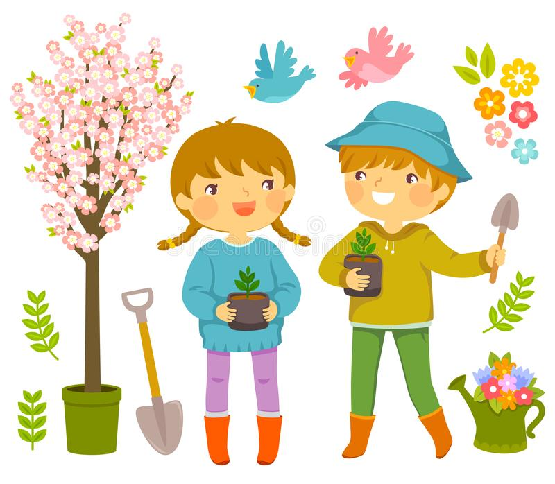 Kids Planting Plants. Kids with gardening tools and saplings to plant on Tu Bishvat stock illustration
