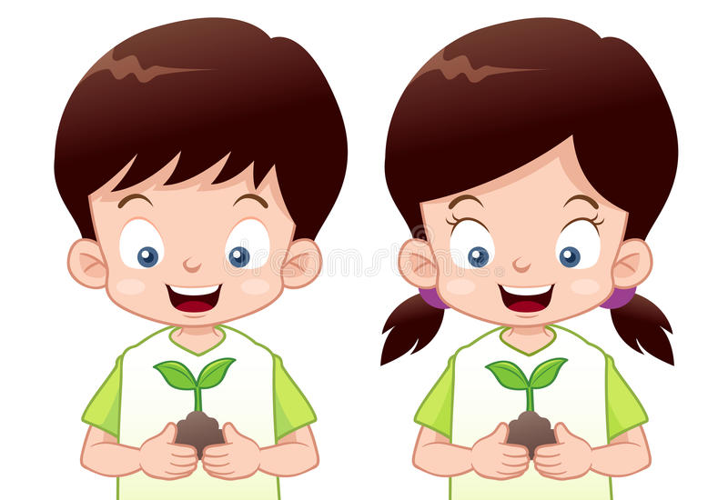 Download Kids Is Planting Small Plant Stock Vector - Image: 28725857