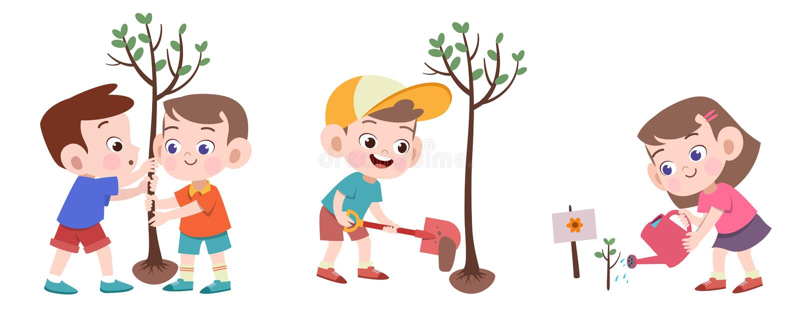 kids planting tree vector illustration isolated vector illustration