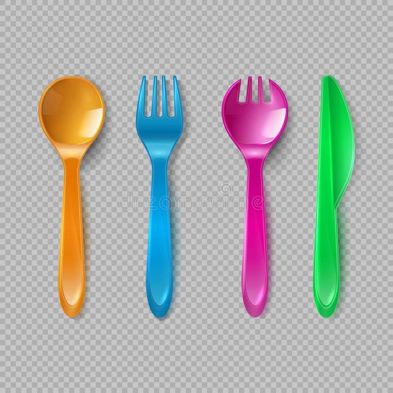 Kids plastic cutlery. Little spoon, fork and knife . Disposable dishware, toy kitchen dining tools vector set royalty free illustration